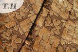 2016 Tissu jacquard Chenille élégant en feuilles brunes