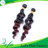 Cabelo brasileiro colorido ondulado natural, extensão do cabelo humano da onda de Ombre