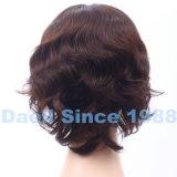 Peluca ondulada atada mano del cortocircuito natural del pelo del 100%