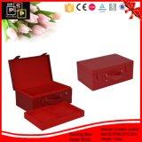 진한 빨간색 색깔 유일한 디자인 가죽 저장 상자