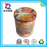 Poder de estaño redonda del metal del rectángulo de almacenaje del acondicionamiento de los alimentos de la contraportada
