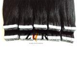 검정 색깔 인간적인 인도 머리 테이프 머리 연장