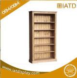 Estalar acima a cremalheira de livros de madeira do indicador da roupa dos miúdos do vestuário do armazenamento