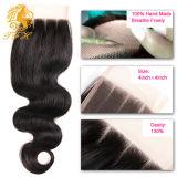 3 Часть кружева закрытия 4X4 тела человеческого волоса кривой закрытия кусок с ребенком волос черный цвет не отбеливается хлором узлов