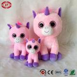 분홍색 Unicorn 아기는 큰 눈 대중적인 견면 벨벳 세륨 장난감을