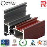 Profil extérieur en bois d'aluminium/en aluminium d'extrusion pour la porte de guichet