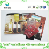 Folletos de la impresión del papel revestido que realzan con para el vino