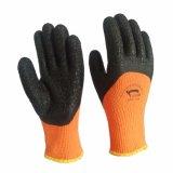 Orange Frotteestoff-Zwischenlage-Schwarz-Latex-Handschuhe für Füße