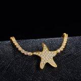 Pulsera de encargo del encanto de la insignia del oro amarillo del metal de la alta calidad