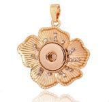 Tasti a schiocco degli accessori dei monili del Rhinestone dell'oro della Rosa dei pendenti del fiore di modo