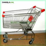 Het Winkelen van de Supermarkt van de Lading van de Duw van de hand Op zwaar werk berekend Karretje