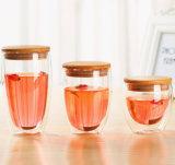 Personalizar el jugo de naranja taza de café de doble pared de vidrio con tapa de bambú de la Copa beber bebidas