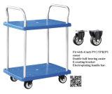 150kgs柵のない青い二重層のプラスチック手押し車