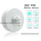 détecteur de mouvement infrarouge réglable de corps du plafond PIR de degré à C.A. 110-240V 360 avec 3 détecteurs pour l'éclairage de lampe