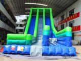 Blauwgroene Opblaasbare Dia met de Sprong van het Luchtkussen (CHSL415)