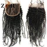 Fermeture humaine brésilienne de lacet de cheveu de Vierge d'enroulement crépu