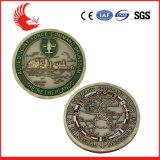 Le double mou de bronze d'antiquité d'émail dégrossit pièce de monnaie d'enjeu de militaires
