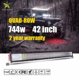 8d 4 barra ligera curvada 42inch campo a través del barco SUV 12V 24V LED del carro de la barra ligera de la fila LED
