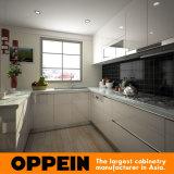 Armadi da cucina modulari d'angolo di legno della lacca a forma di U di Oppein (OP15-L33)
