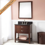 Fed-340 Natural Granite Top Modern 30inch Width Solid Wood Bathroom Vanity