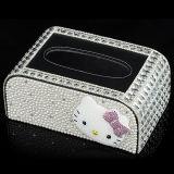 Luxo diamante jóias de cristal acessórios caixa de tecido caixa de tecido de carro para decoração de casa (TBB-004)