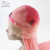 Großhandels8a Remy Jungfrau-brasilianisches Menschenhaar-gerades volles Spitze-Perücke-Farben-Rosa