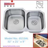 60/40 plato doble de acero inoxidable fregadero de la cocina con CUPC Aprobado (8153)