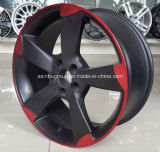 Ligne rouge noir mat voiture Roues en alliage en aluminium pour Audi