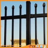 溶接されたやりの上の庭のフェンス越しに装飾用の鋼鉄