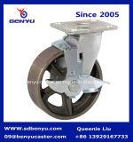 1 тонн самоустанавливающиеся колеса для тяжелого режима работы чугунные колеса с тормозом