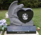 Pietra tombale nera del granito con il Headstone piangente commemorativo di angelo
