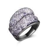joyería negra cristalina plateada oro verdadero del anillo de la manera 18K