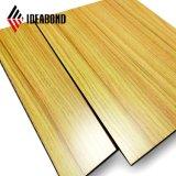 Revestimento interior Decoração de parede acabamento em madeira PE material composto de alumínio