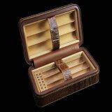 Strukturierter lederner Zigarre-Luftfeuchtigkeitsregler-Kasten
