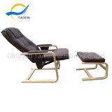 Cadeira de madeira multifuncional com almofada de PU Café