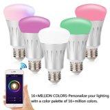 7W 600lm LED E27 Birnen-intelligente Glühlampe WiFi Lampen-Mobiltelefon-Steuerfarbe, die 175-255V 6000K+RGB ändert