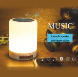 7 colores encienden Bluetooth Spearker con la lámpara de la noche de la alarma de la música de la lámpara del reloj de alarma LED