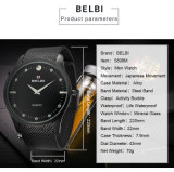 Belbi Geschäfts-Japan-Bewegungs-nehmen super dünne Mann-Quarz-Uhr mit der wasserdichten Edelstahl-Brücke OEM&ODM Dienstleistungsunternehmen an
