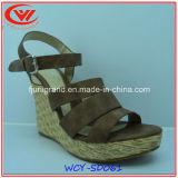 Высокие сандалии неподдельной кожи пятки наклона для женщин