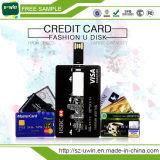 Movimentação plástica do flash do USB do cartão de crédito da impressão de cor cheia (UW-072)