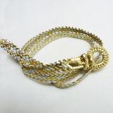 卸し売り方法女性の金金属PUベルトによって編まれるPinのバックルの服