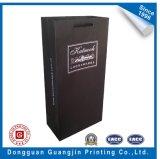 Bolsa de compras clássica de papel preto para embalagem de vinho