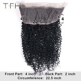 "360 Lace Fecho Frontal Virgem brasileira de cabelo humano natural 130% Kinky preto encaracolado 360 Swiss Lace Fecho Frontal 22"""