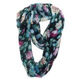 Unbegrenztheits-Sommer-Schal der Dame-Fashion Flower Printed Polyester Chiffon- (YKY1106)