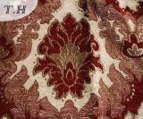 Tela grande do sofá e da mobília do jacquard do Chenille de 2016 flores do vermelho (FTH31617)