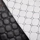 Couro sintético do falso da mobília do couro quadrado do sofá do plutônio do bordado