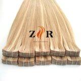 Blondes Farben-Haut-Haar einschlag-PU-Band-China-Großverkauf