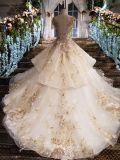 Роскошное платье венчания мантии шарика Neckline шлюпки