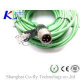Codificazione maschio di M12 IP67 D che protegge spina elettrica con il maschio RJ45 con cavo verde
