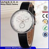 Montre-bracelet de constructeur de dames de quartz de courroie en cuir de mode (Wy-091E)